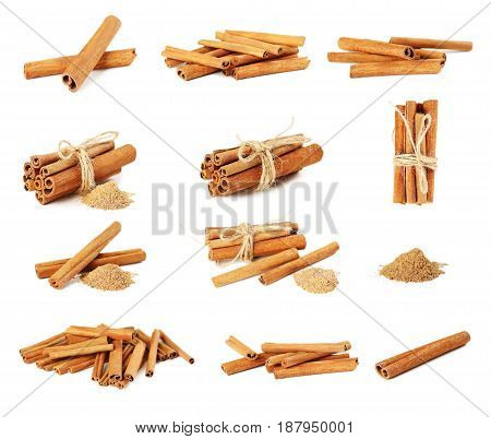 Collage Of Cinnamon Sticks On A White Background