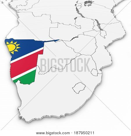3D Map Of Namibia With Namibian Flag On White Background 3D Illustration