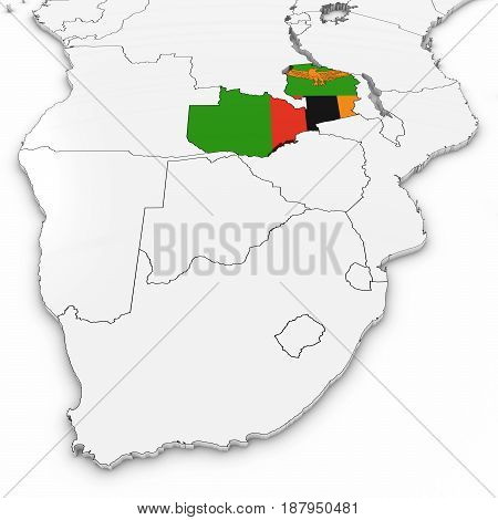 3D Map Of Zambia With Zambian Flag On White Background 3D Illustration