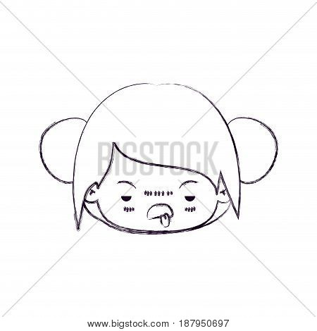 monochrome blurred silhouette of facial expression unsavory kawaii little girl with collected hair vector illustration