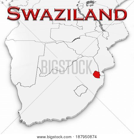 3D Map Of Swaziland With Country Name Highlighted Red On White Background 3D Illustration