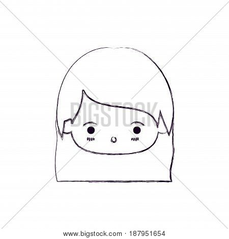 monochrome blurred silhouette of facial expression surprised kawaii little girl with straight hair vector illustration