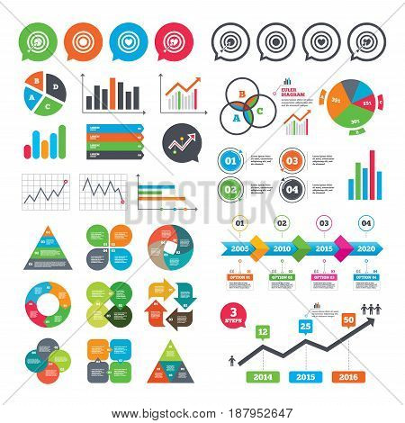 Business charts. Growth graph. Target aim icons. Darts board with heart and arrow signs symbols. Market report presentation. Vector