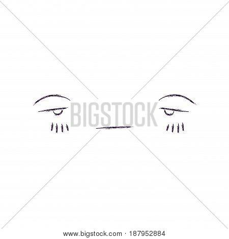 monochrome blurred silhouette of facial expression sad kawaii vector illustration