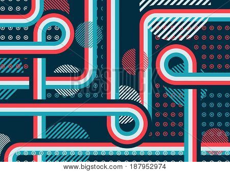Abstract pattern of perpendicular lines and circles. The intersection forms. Bright colors. The illusion of layers.