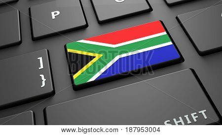South africa flag keyboard enter button 3d render