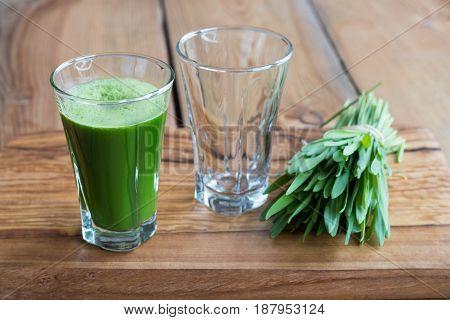 Green Barley Grass Shot In A Glass