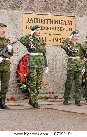 Kirishi, Russia - 9 May, Giving honor after deposition, 9 May, 2017. Holding a festive rally dedicated to the Victory Day.