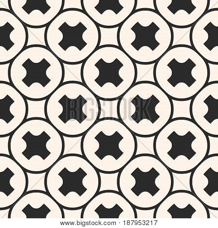 Vector seamless pattern, stylish monochrome geometric texture with smooth crosses outline circular grid. Abstract repeat background for tileable print, decor, covers, textile, furniture, digital, web