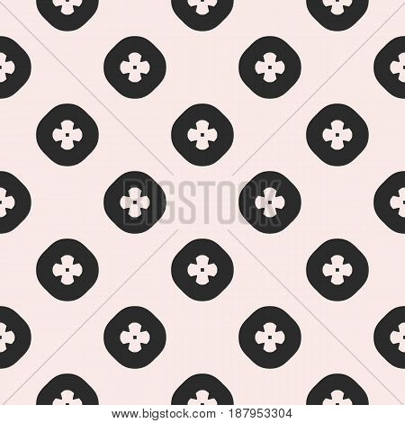 Vector seamless pattern, geometric floral texture. Simple geometrical flowers in circles. Modern abstract background repeat tiles. Symmetric design element for prints, embossing, fabric, furniture