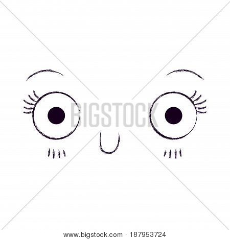 monochrome blurred silhouette of cute facial expression kawaii vector illustration