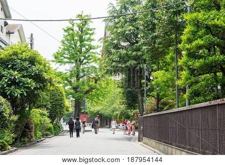 Tokyo Japan - May 1 2017: People are entering the back alley of Sensoji Shrine.