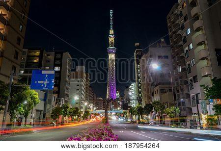 Tokyo Japan - May 2 2017: Road in Sumida ward that lead to Tokyo Skytree