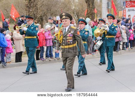 Kirishi, Russia - 9 May, Going military musicians, 9 May, 2017. Preparation and conduct of the action Immortal regiment in small cities of Russia.