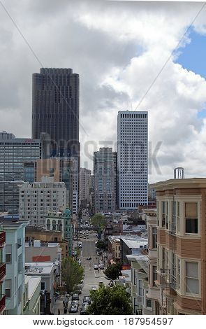 San Francisco, California. Beautiful urban view on the city from Telegraph Hill