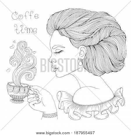 Vector hand drawn elegant lady in profile holds a mug with a hot drink and enjoys the delicious aroma of steam. Patterned page for coloring book A4 size. Isolated on white background