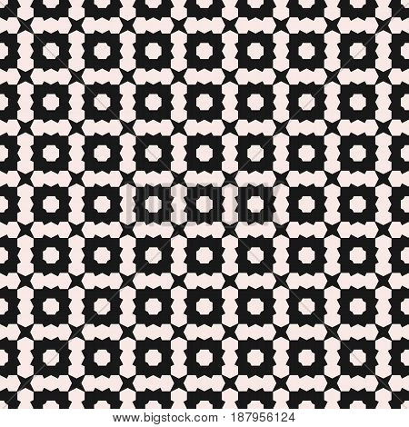 Vector seamless texture deco art pattern. Monochrome illustration with simple angled geometric shapes. Abstract black & white background repeat tiles. Design element for prints, digital, web, cover