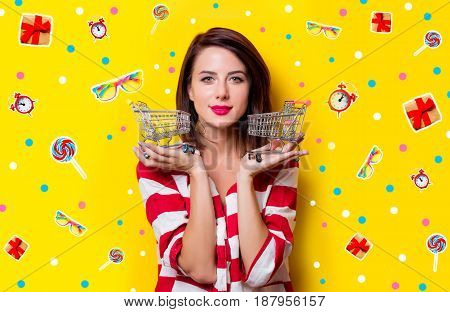 Young Woman With Shopping Carts