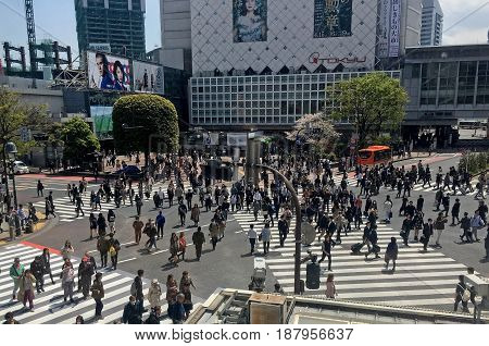 TOKYO JAPAN - APRIL 11 2017: Crossroads with regular and diagonal markings on a busy street