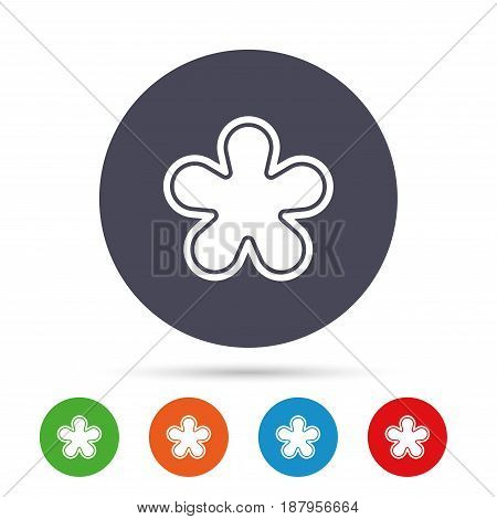 Asterisk round footnote sign icon. Star note symbol for more information. Round colourful buttons with flat icons. Vector