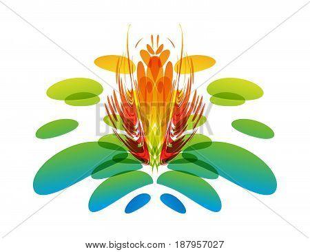 Multicolor fantasy flower on white background, vector illustrtion