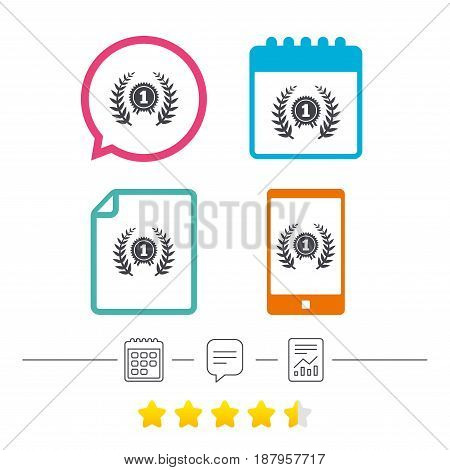First place award sign icon. Prize for winner symbol. Laurel Wreath. Calendar, chat speech bubble and report linear icons. Star vote ranking. Vector