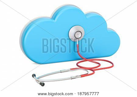 Cloud computing with stethoscope 3D rendering isolated on white background