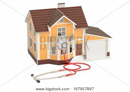 House with stethoscope 3D rendering isolated on white background