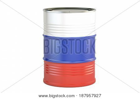 Oil barrel with flag of Russia. Oil production and trade concept 3D rendering