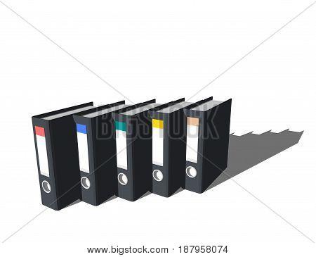 File folders.Isolated on white background. 3D rendering illustration.