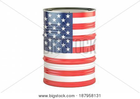 Oil barrel with flag of USA. Oil production and trade concept 3D rendering