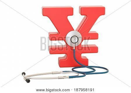 yen or yuan symbol and stethoscope financial aid concept. 3D rendering isolated on white background
