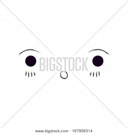 monochrome blurred silhouette of facial expression kawaii surprised vector illustration