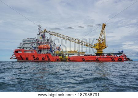 Labuan,Malaysia-Feb 19,2017:Offshore oil & gas sea construction & support vessel at port of Labuan,Malaysia.All the vessels port in Labuan island,most related to the offshore Oil & Gas industry.