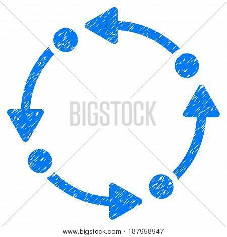 Grunge Rotate icon with grunge design and dust texture. Unclean vector blue pictogram for rubber seal stamp imitations and watermarks. Draft sign symbol.