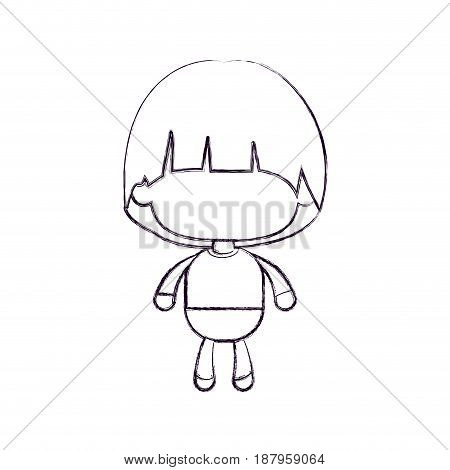 monochrome blurred silhouette of faceless little boy with mushroom haircut vector illustration