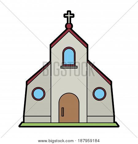 cristian or catholic church chapel icon image vector illustration design