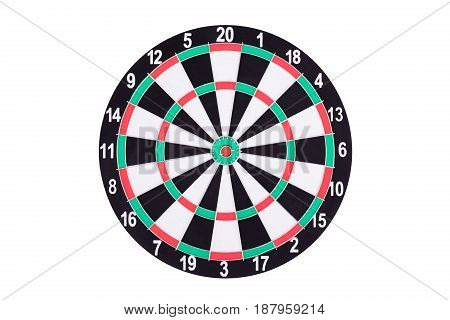 Darts Board Isolated On White Background. New Dartboard For Darts Game.