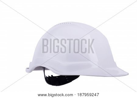 White Plastic Safety Helmet, Isolated On White Background