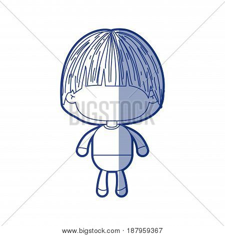 blue shading silhouette of faceless little boy with mushroom haircut vector illustration