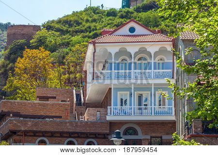 Old Sulfur Baths In Abanotubani District  With Wooden Carved Balconies In The Old Town Of Tbilisi, G