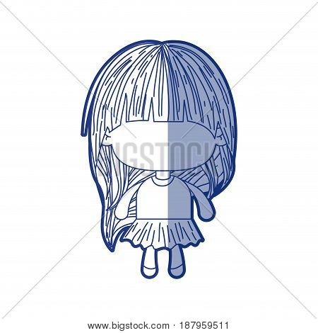 blue shading silhouette of faceless little girl with long hair vector illustration
