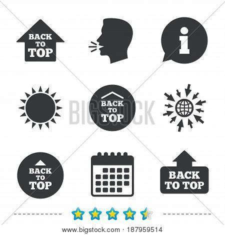 Back to top icons. Scroll up with arrow sign symbols. Information, go to web and calendar icons. Sun and loud speak symbol. Vector