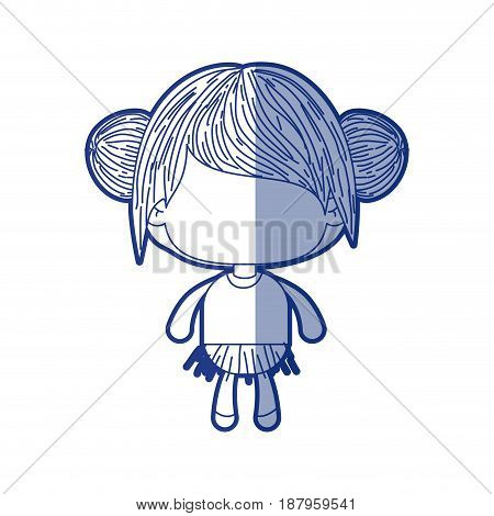 blue shading silhouette of faceless little girl with collected bun hair vector illustration