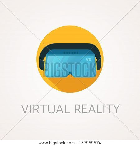 VR headset icon. Virtual reality glass. Flat style design