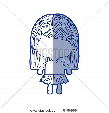 blue shading silhouette of faceless little girl with straight hair vector illustration