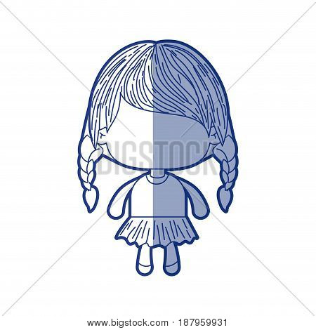 blue shading silhouette of faceless little girl with braided hair medium height vector illustration