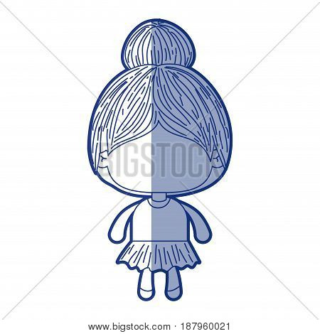 blue shading silhouette of faceless little girl with collected hair vector illustration
