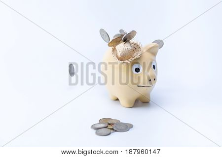 Chubby Brown Hat Country Piggy Saving Bank Moneybox With Coins In The Front And Falling From The Top