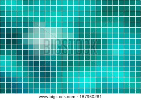 Turquoise green abstract vector square tiles over white mosaic background